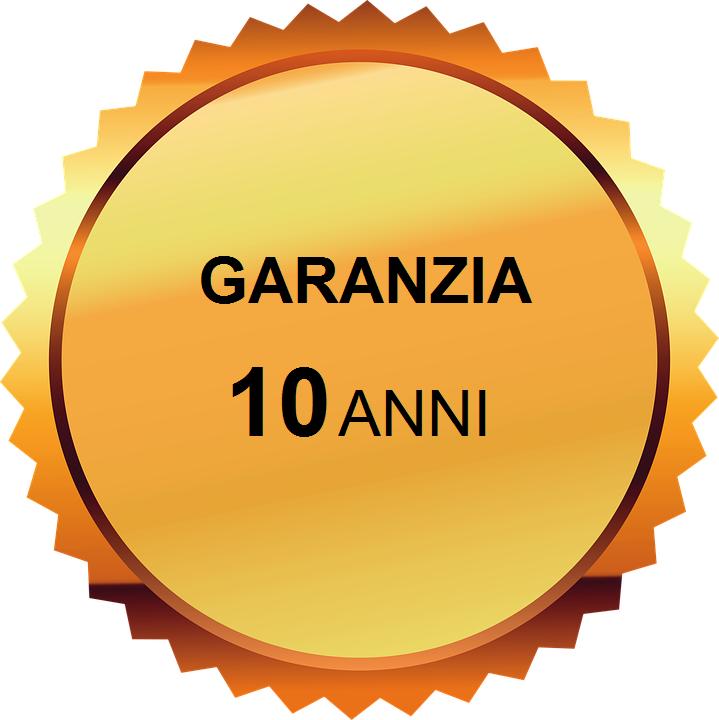 Garanzia di 10 anni su Struttura, Accessori e Verniciature